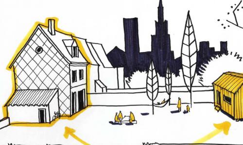 De Fransen bouwen kleine huisjes voor vluchtelingen in hun achtertuin