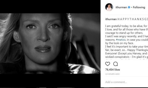 Uma Thurman geeft perfecte sneer richting Weinstein in deze Thanksgiving-post
