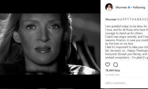 Uma Thurman geeft perfecte sneer richting Weinstein in deze Thanksgiving-post