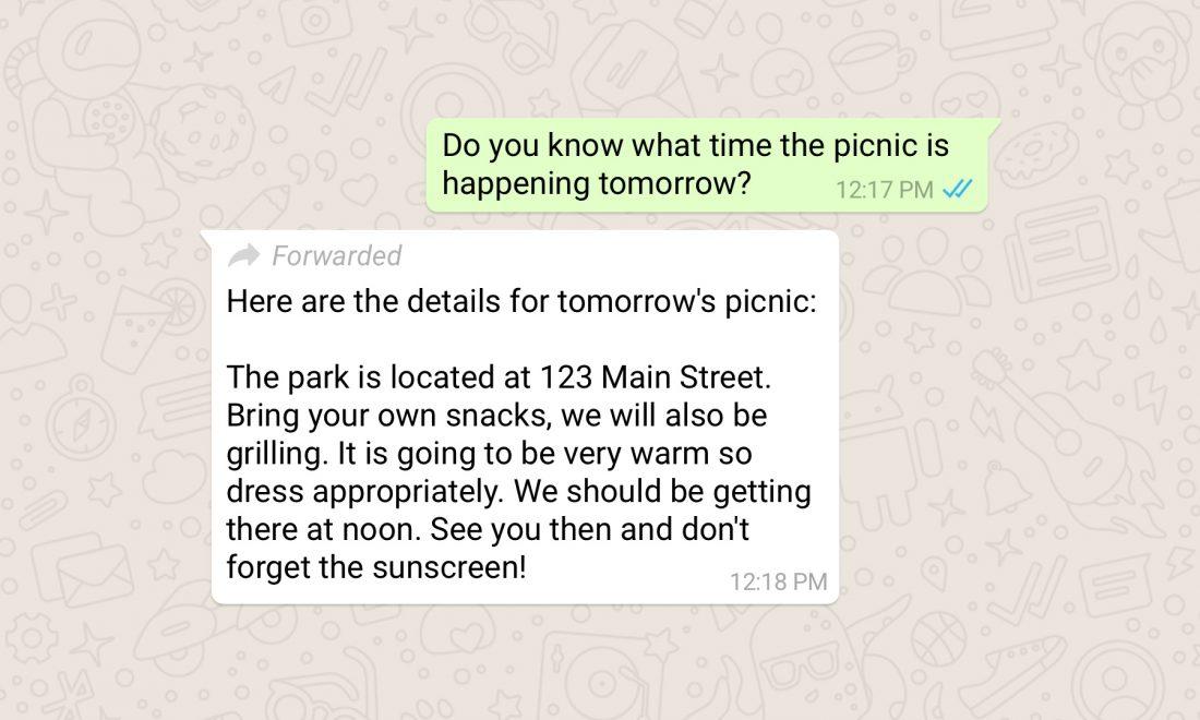 WhatsApp-doorgestuurd-bericht