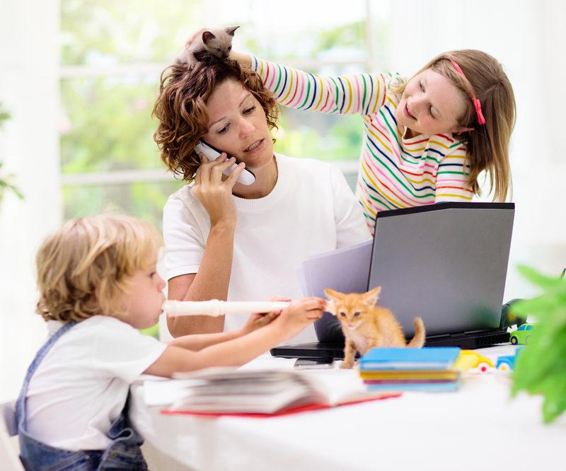 traditionele rolverdeling, moeder, thuiswerken, kinderen